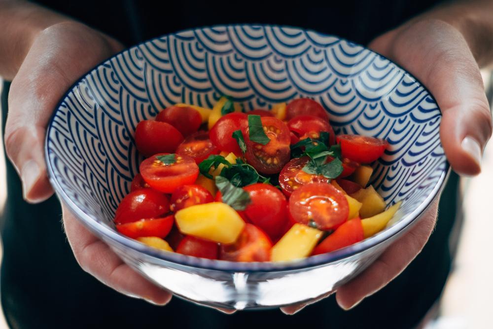 salade de tomates et mangue